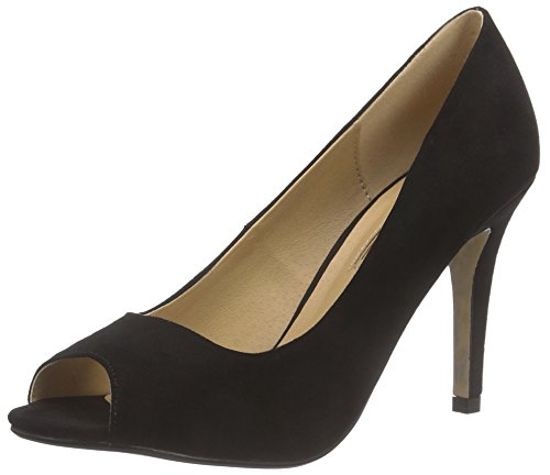 Buffalo Shoes 314669 IMI SUEDE, Damen Peep-Toe Pumps, Schwarz (BLACK 01), 39 EU