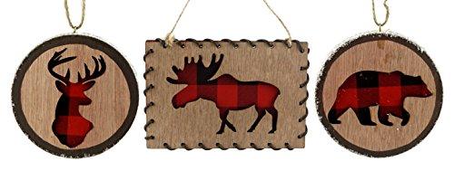 Buffalo Check Woodland Animal Hanging Christmas Ornaments - Set of 3