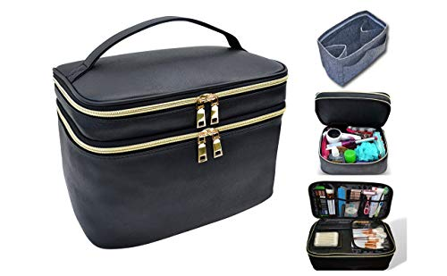 Extra Large Capacity Makeup and Toiletry Bag Tote with Felt