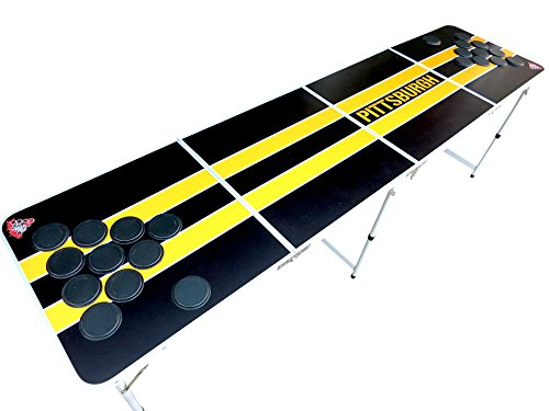 Black and Yellow Pittsburgh Beer Pong Table with Predrilled Cup Holes