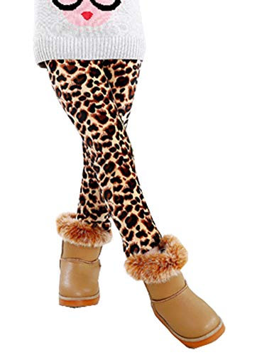 YOSUNL Girl's Thicken Tights Winter Thermal Fleece Lined Leggings Little Kids Stretchy Printed Pants Leopard 130 (Toddler Leopard Leggings)
