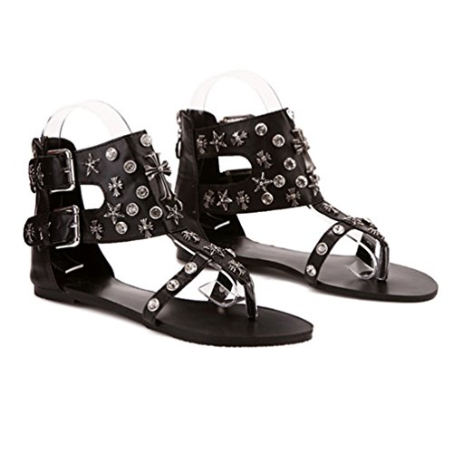NiSeng Mujer T-Strap Clip Toe Sandalias Roma Rhinestone Del Remache Sandalias Hebilla Del Cinturón Peep Toe Sandalias Negro