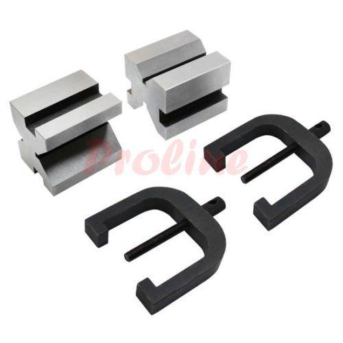 """1-3/8"""" x 1-5/8"""" x 1-3/4'' V Block & Clamp Set Steel Gauge..."""