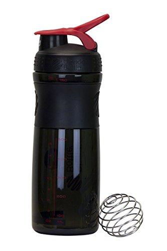 Slim 28-oz Odor-resistant BPA-Free Shaker Sport Mixer Bottle With Blending Ball Inside and Leak Proof Secure Top (Black/Red)