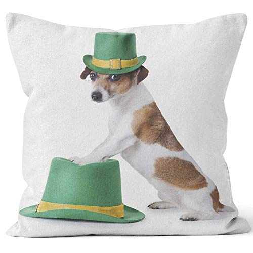 Nine City st Patrick's Day Party Puppy Throw Pillow Cover,HD Printing for Sofa Couch Car Bedroom Living Room D??cor]()
