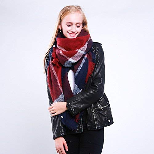 StyleSlice® Women s Tartan Plaid Blanket Scarf with Fringe Cosy Oversized  Ladies Winter Wrap Shawl Stole Neck - Black White 41300ee6fccb