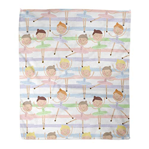 Emvency Throw Blanket Warm Cozy Print Flannel Cute Dancing Ballerina Girls in Blue Green and Pink Dresses on Striped for Baby Comfortable Soft for Bed Sofa and Couch 50x60 Inches -