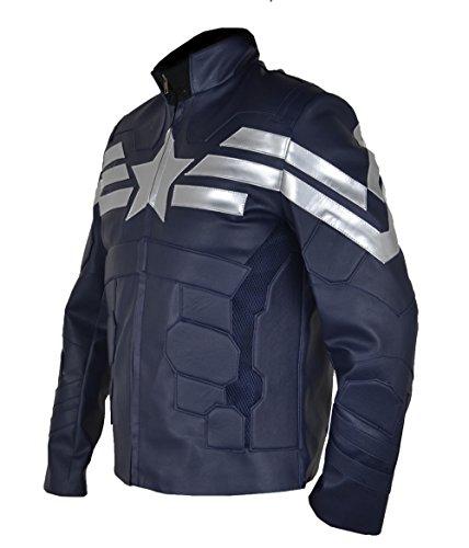 HLS Captain America CA5 Winter Soldier FAUX Leather Jacket XXS-5XL Blue