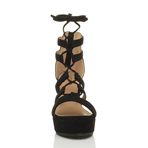 Ajvani Damen Hohe Keilabsatz Riemchen Schnür-Pumps Gladiator Sandalen Schuhe Größe Schwarz Wildleder