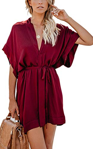 (Shineya Women Casual V Neck Dress Batwing Short Sleeve T Shirt Dress Boho Floral Kimono Dress with Belt (Wine RED, S))
