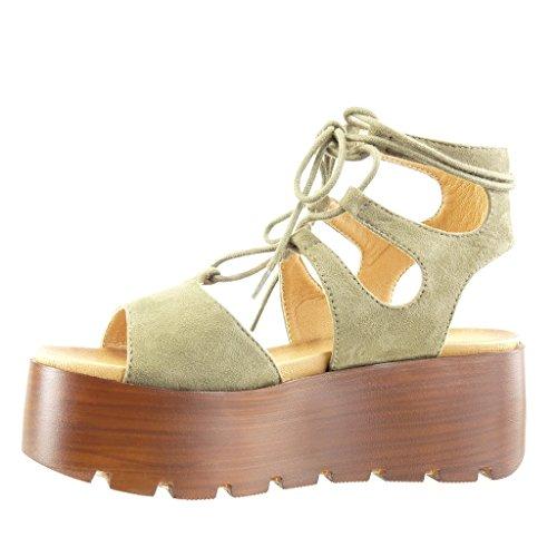 Angkorly - Chaussure Mode Sandale Mule plateforme femme lacets multi-bride bois Talon compensé plateforme 6.5 CM - Vert