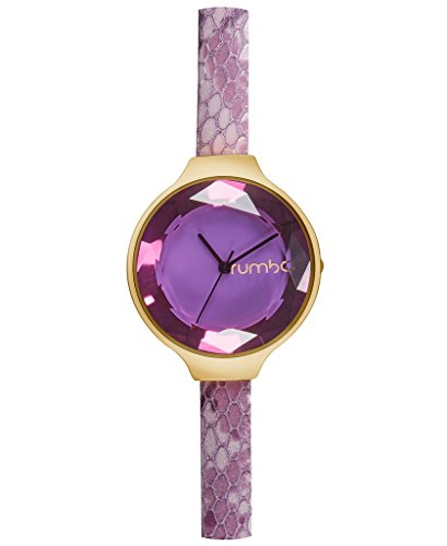RumbaTime Women's 'Orchard Gem Exotic' Quartz Stainless Steel and Leather Casual Watch, Color:Purple (Model: 26658)