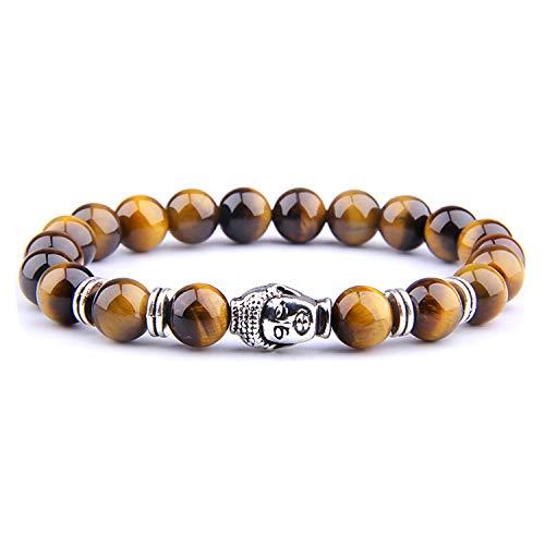 Tea language Fashion Men's Bracelet Beads Charm Bracelets for Women Men Jewelry,Yellow Tiger-2,17cm ()