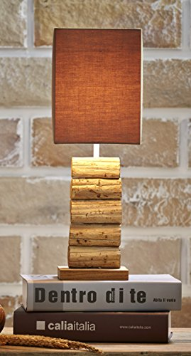O'THENTIQUE Driftwood Table Lamp | Natural Rustic Reclaimed Teak Wood | Handmade Earthy Finished With Brown Shade (Branch Lamp Base)