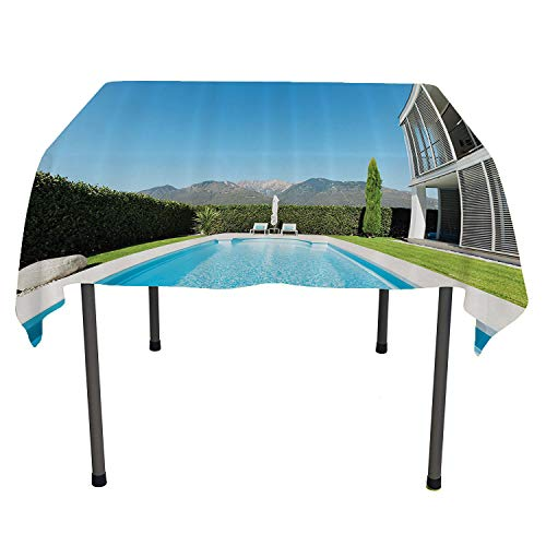 - House Decor Collection, Waterproof Tablecloths Modern Villa with Pool View from The Garden Real Estate Contemporary Property Photo Print, for Kitchen Dining Party, 60x60 Inch Green Aqua