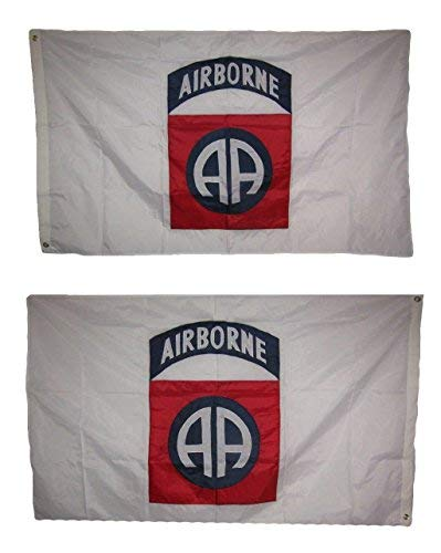 3x5 Embroidered Airborne 82nd Division Double Sided 210D Nylon Flag 3'x5' Clips Banner Grommets Double Stitched Fade Resistant Premium Quality