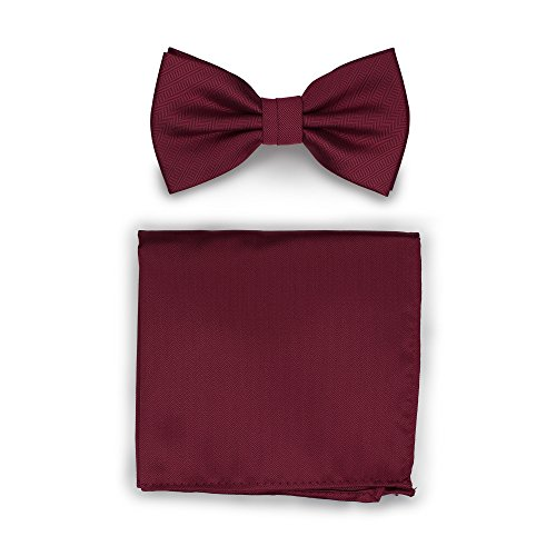 (Bows-N-Ties Men's Solid Pre-Tied Bow Tie and Pocket Square Set Matte Herringbone Finish (Wine))