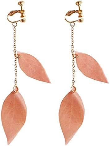 Screw Back Clip on for Non Piercing Translucent Leaf Long Earring Dangle for Girl