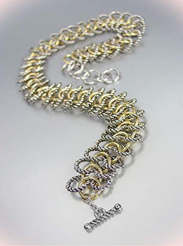 Chunky Double Silver Bracelet Cable Gold Rings Chain Wrap Toggle Bracelets For Women - Double Toggle Bracelet Chain