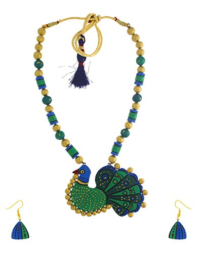 Anuradha Art Golden Finish Peacock Styled Wonderful Handcrafted Terracotta Necklace Set For Women/Girls
