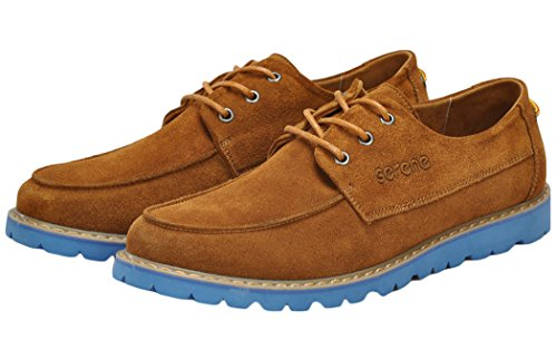 Serene Mens New Design Colored Sole Suede Upper Casual Fashion Sneakers(7.5 D(M)US, Brown)
