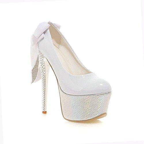 parte a Bowknot pattino scarpa Scarpe della parte da da di YWNC dei superiore spessa del dei Stiletto pattini alti del impermeabile cuoio Rhinestones del degli talloni pompa del festa b Scarpe talloni 4I7w4qp8
