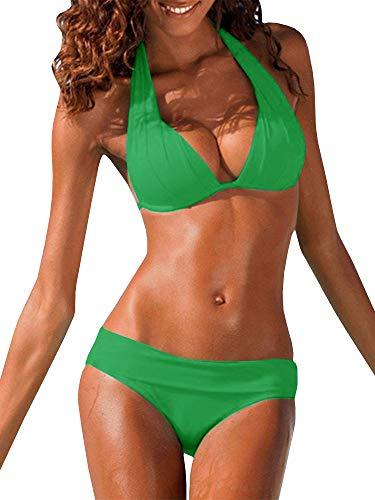 - Imysty Womens Sexy Swimsuits Halter Padded Push Up Bikini Set Solid Two Piece Beachwear Bathing Suits Green