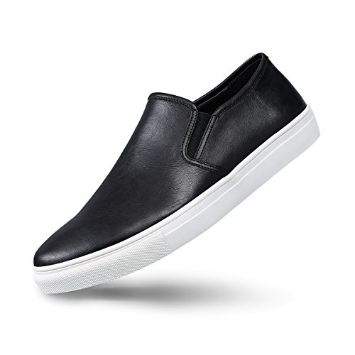 GM GOLAIMAN Men's Sneaker Slip On Loafer - Fashion Leather Shoes Black 11 M US