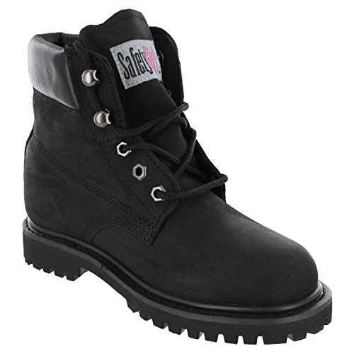 Safety Girl GS003-BLK-8M Steel Toe II Waterproof Women's Work Boots, Toe Size 8M, Black Womens Steel Toe Safety Shoes