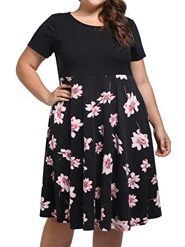 kissmay Plus Size Vintage Dresses, Ladies Pleated Midi Dress Flare Skirts Mini Dress for Lady Big Girls Short Sleeve Scoop Neck Maternity Short Dress for Work Stretchy Business Clothes Light Pink XL