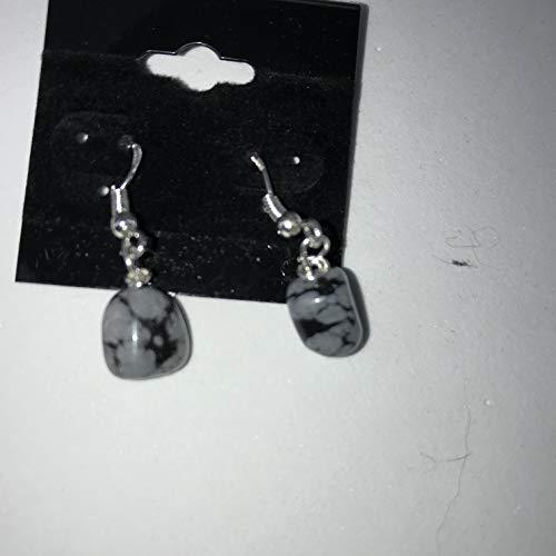 natural snowflake obsidian gemstone tumbled sterling silver dangle earrings