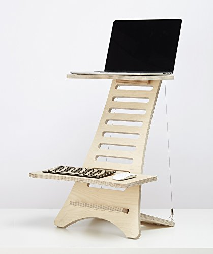 Humbleworks Adjustable Wooden Standing Desk and Stands, For Laptops And Desktop Monitors: Ergonomic Table Top Attachment Laptop Riser And Organizer (Standing Desk (up to 15'))