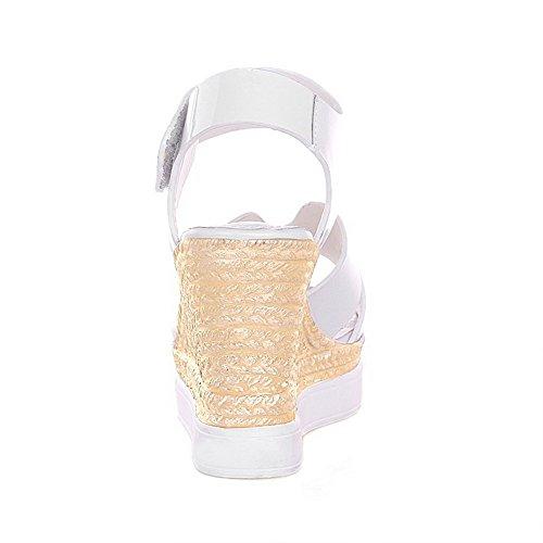 Amoonyfashion Kvinnor Peep-toe Kick-häl Lackläder Fast Hook-and-loop Sandaler Vita