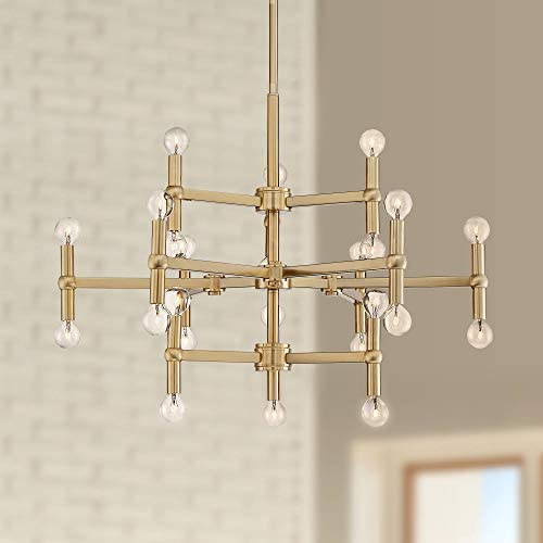 Marya Satin Brass Large Chandelier 32″ Wide Modern 24-Light Fixture