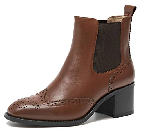 Ankle Womens lite Chelsea Shoes Cowhide Autumn Women's Winter Brown Wintip Block Heel Perforated U Boots 58wdq5