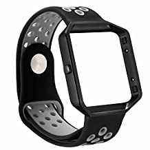 Fitbit Blaze Bands,ESEEKGO Soft Silicone Band with Metal Frame for Fitbit Blaze Replacement Sport Fitness Accessory Wristband ( No Tracker )