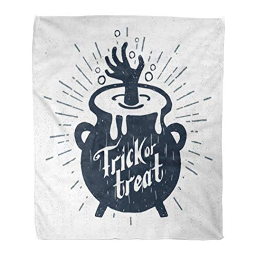 Golee Throw Blanket Sign Halloween Label Cauldron and Trick Treat Lettering Vintage Spooky 50x60 Inches Warm Fuzzy Soft Blanket for Bed Sofa