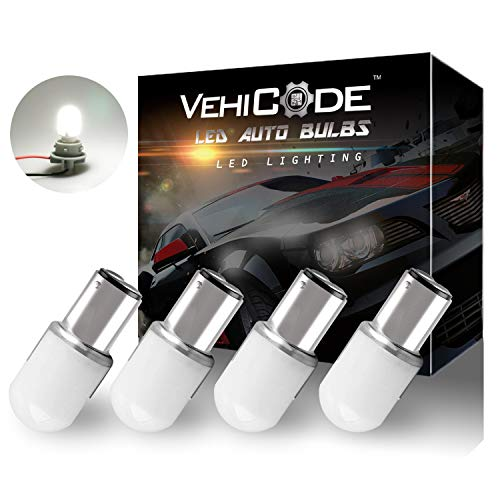 VehiCode Low Voltage 12-24v BA15D (1076/1142/1004/68/90) LED Light Bulb (6000K White) Double Contact for RV Vanity Porch Puck Dome Outdoor Malibu Landscape Deck Step Pathway Garden Light (4 Pack)