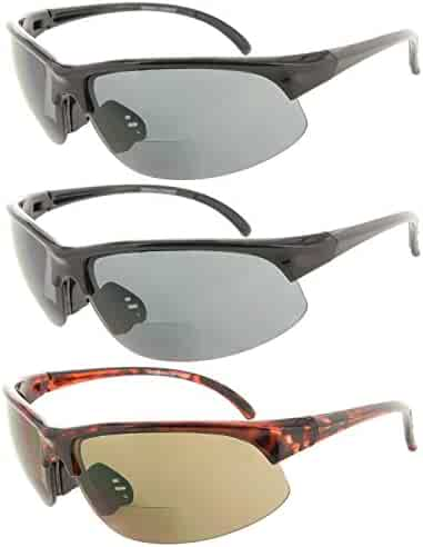 4765141b9d Fiore 3 Pack Bifocal Sun Reader Sport and Wrap Around Reading Sunglasses  Unisex Half Frame Readers