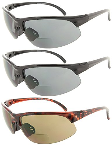 Fiore 3 Pack Bifocal Sun Reader Sport Wrap Around Reading Sunglasses - 3 Pack Sunglasses