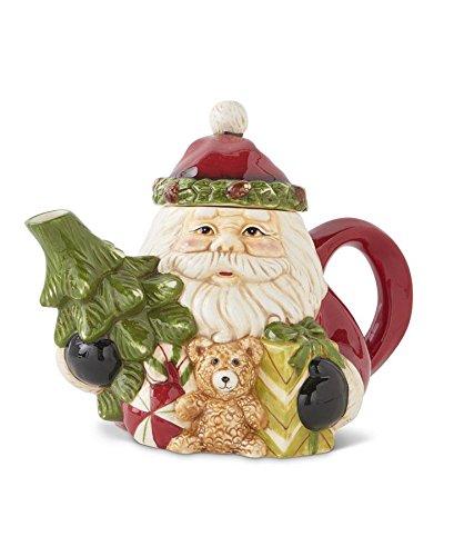 K&K Interiors Ceramic Santa Tea Pot w/Tree and Gifts