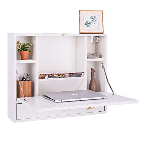 COSTWAYUS VD-60360WHHW COSTWAY Wall Mounted Folding Laptop Desk Hideaway Organizer Storage Space Saver w/Drawer, White - Space Saver Wall Mount
