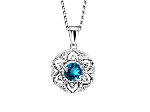 Sterling Silver CZ Flower Pendants Necklaces for women 18