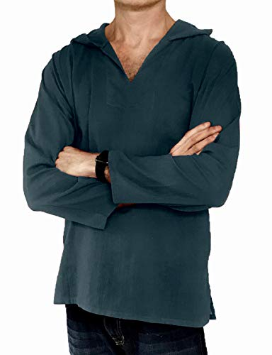 Men's Hoodie Hippie Shirts Beach 100% Soft Cotton Top Yoga Shirt Boho (XXX-Large, Dark Grey) ()