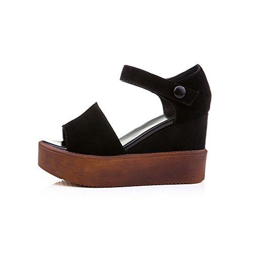 AllhqFashion Women's Solid Nubuck Leather High Heels Open Toe Hook And Loop Sandals Black 0RlPrL