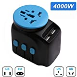 Travel Adapter Worldwide Outlet Converter 4000W PPTC Fuse Wall...
