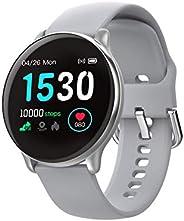 RelóGio Inteligente Smartwatch com PressãO Arterial Redondo Feminino e Masculino,Esportivo A Prova DáGua,Compa