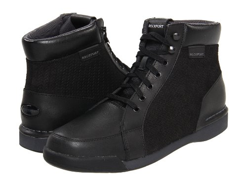 Review Rockport Mens Leather 7100 Boot Mid (US Men 8, Black/ Dark Shadow)