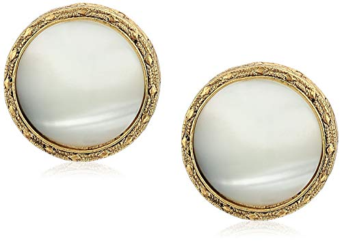 1928 Jewelry Women's Gold Tone Small Round Faux Pearl Button Clip Earrings, White, One Size, - Clip Button Earrings Round