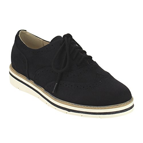 Soda IG04 Women's Lace up Perforated Wingtip Stitched Oxfords, Color Black Suede, Size:7.5